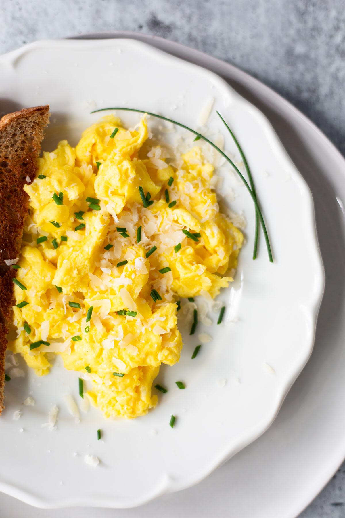 scrambled eggs up close