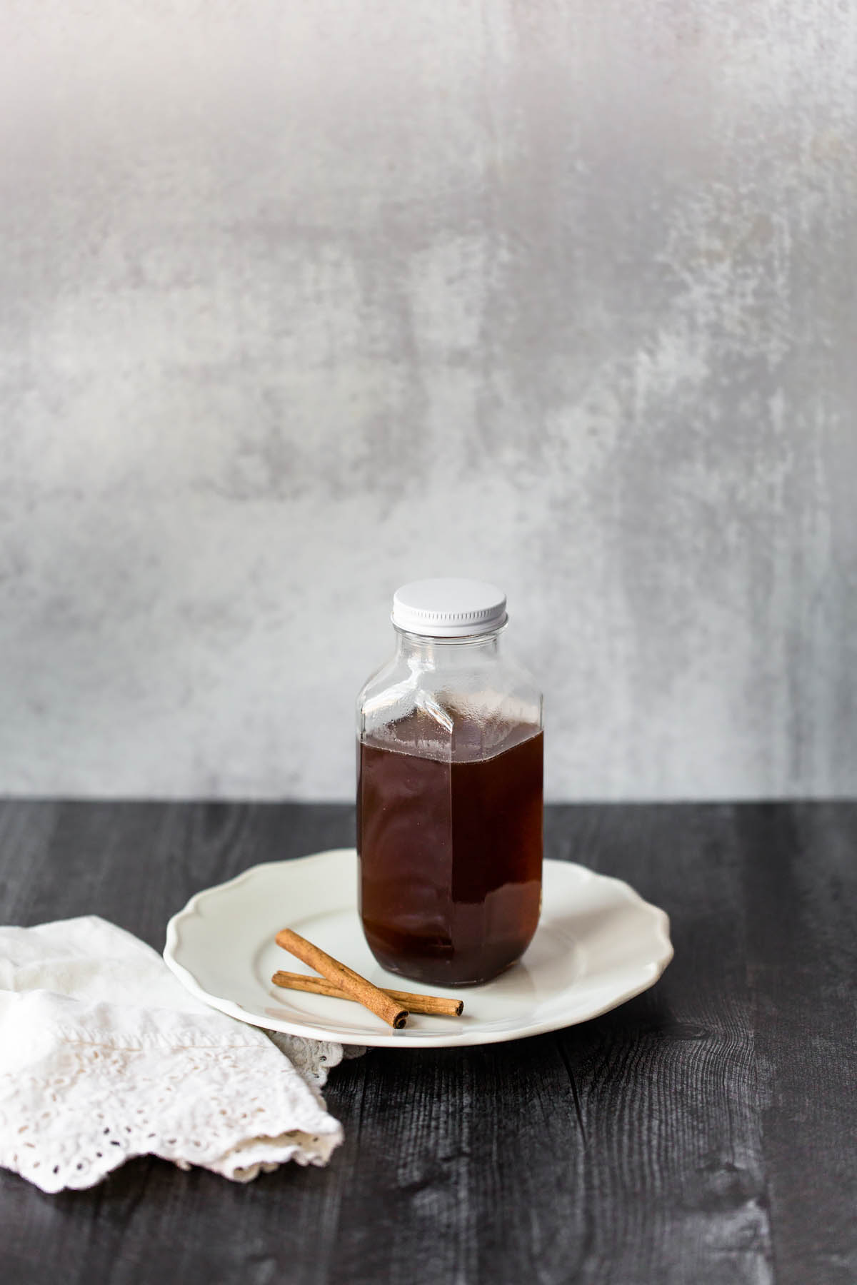 cinnamon simple syrup in a jar