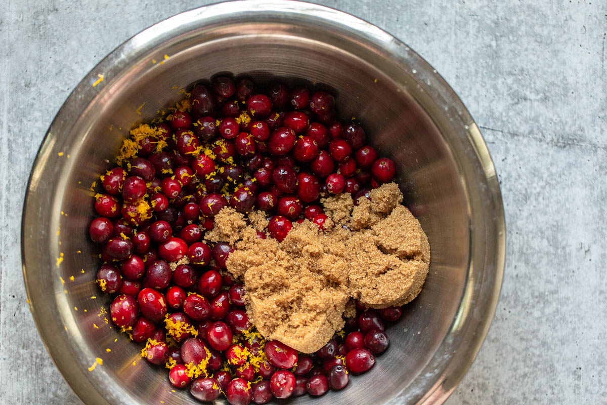 cranberries brown sugar and orange zest
