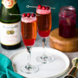 cranberry mocktails with cranberries on top