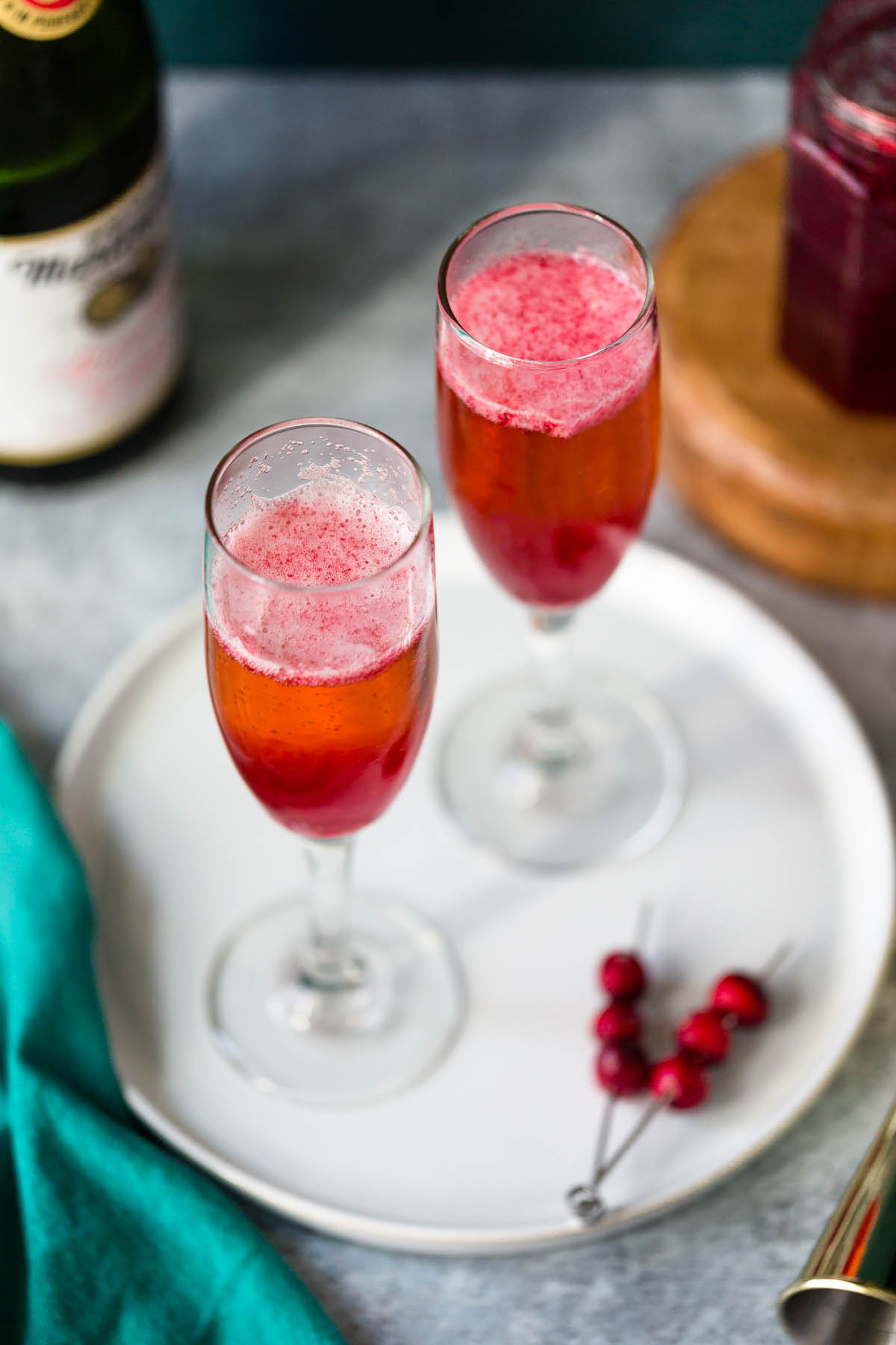 cranberry mocktails in champagne glasses