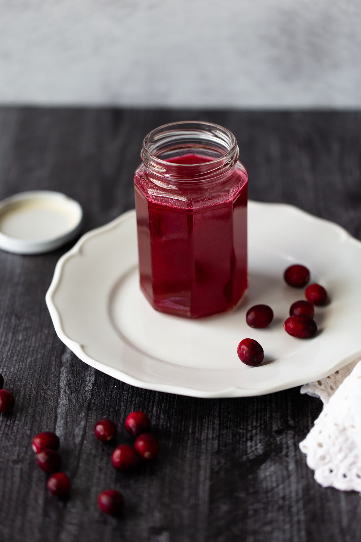 cranberry simple syrup in a jar