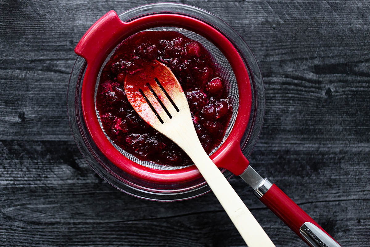 cranberries in a mesh strainer