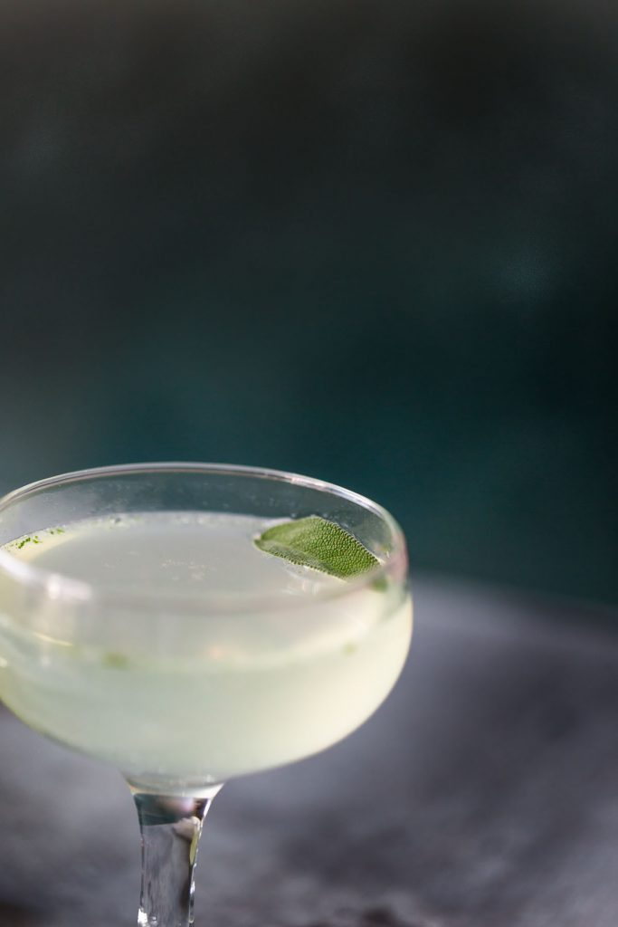 sage gimlet mocktail up close