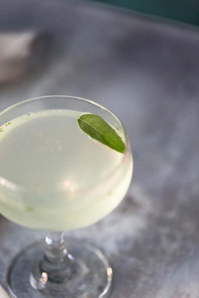 sage gimlet mocktail in a coupe glass up close