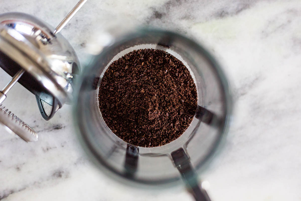 coffee grounds in a french press