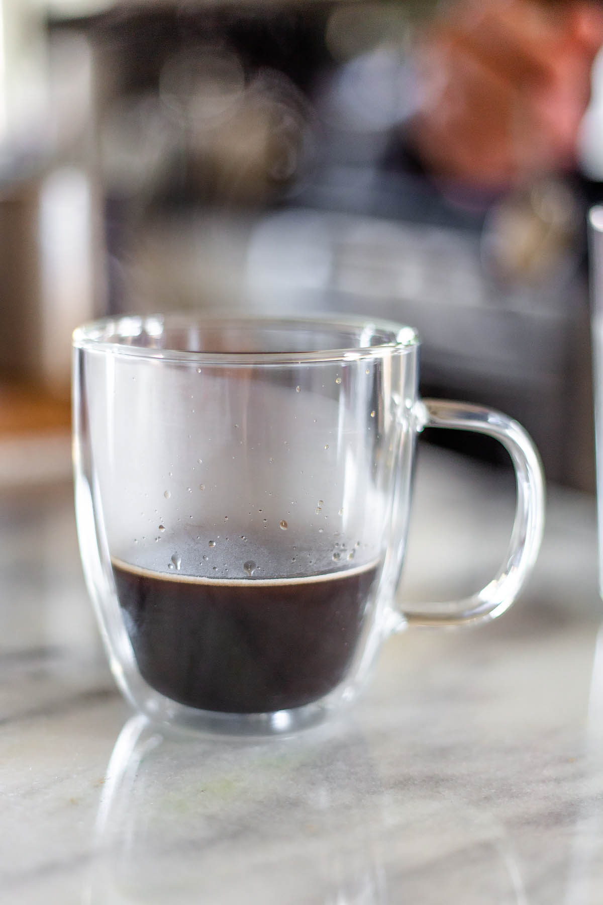 coffee in a glass mug