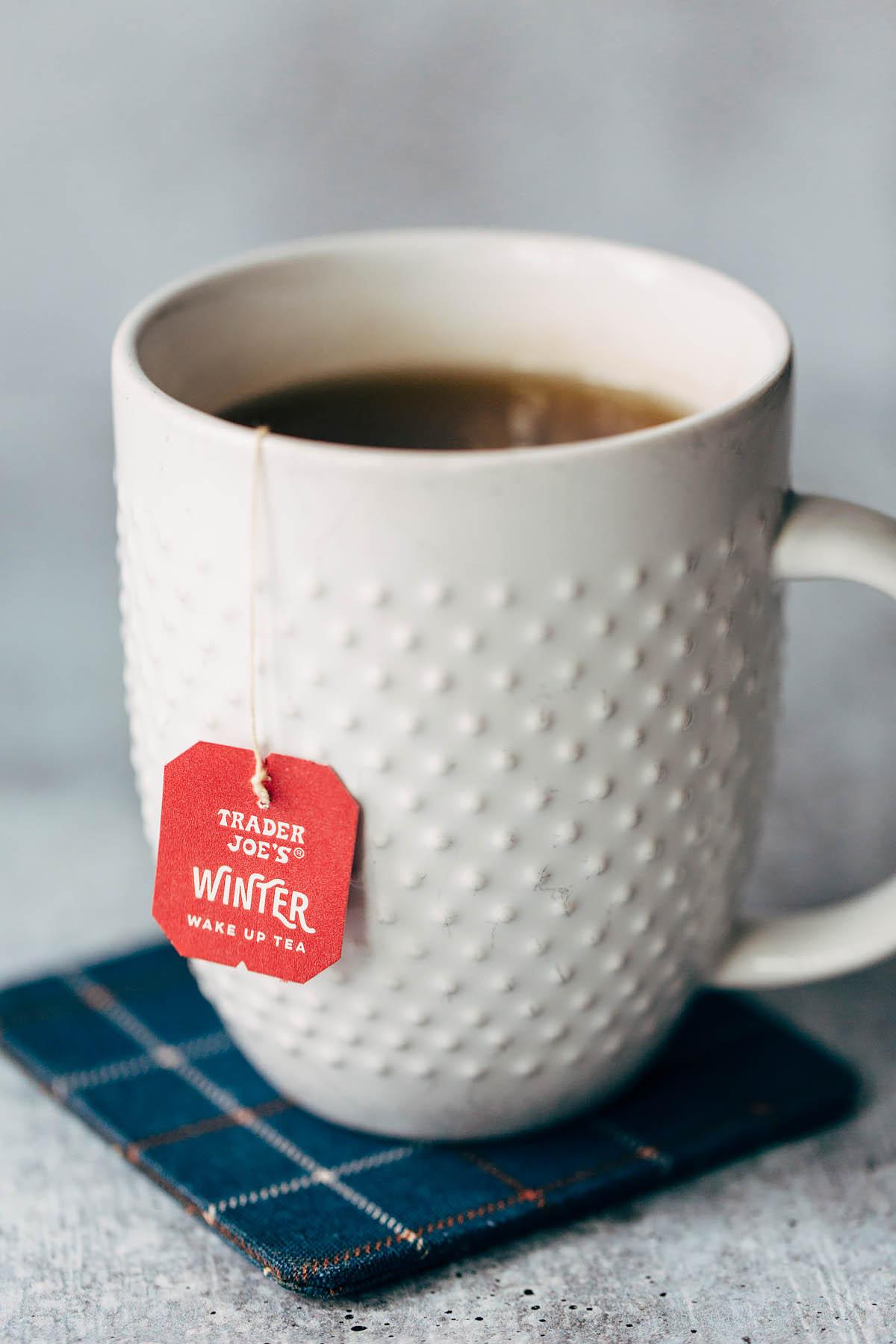 brewing a mug of trader joes winter tea