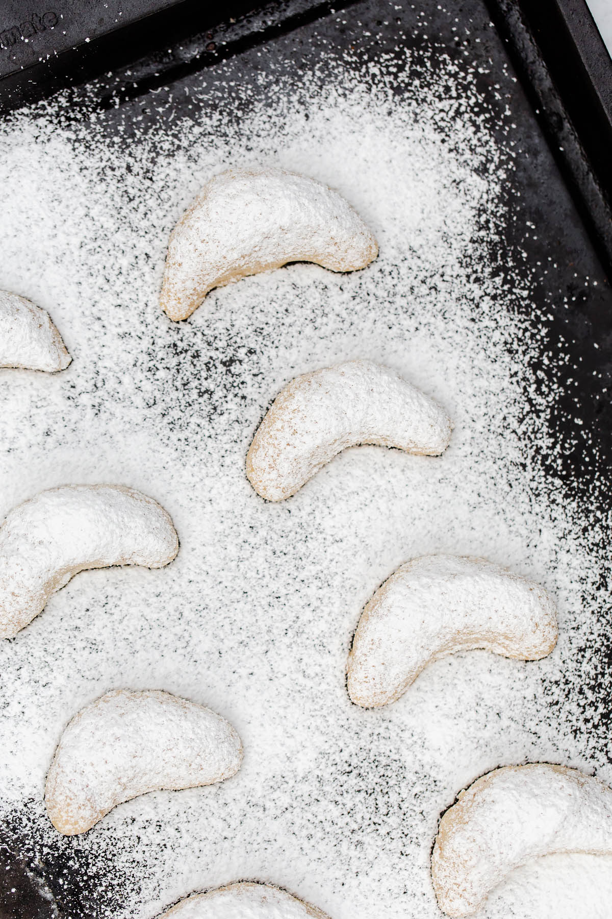 walnut cookies dusted with powdered sugar