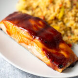 air fryer teriyaki salmon up close