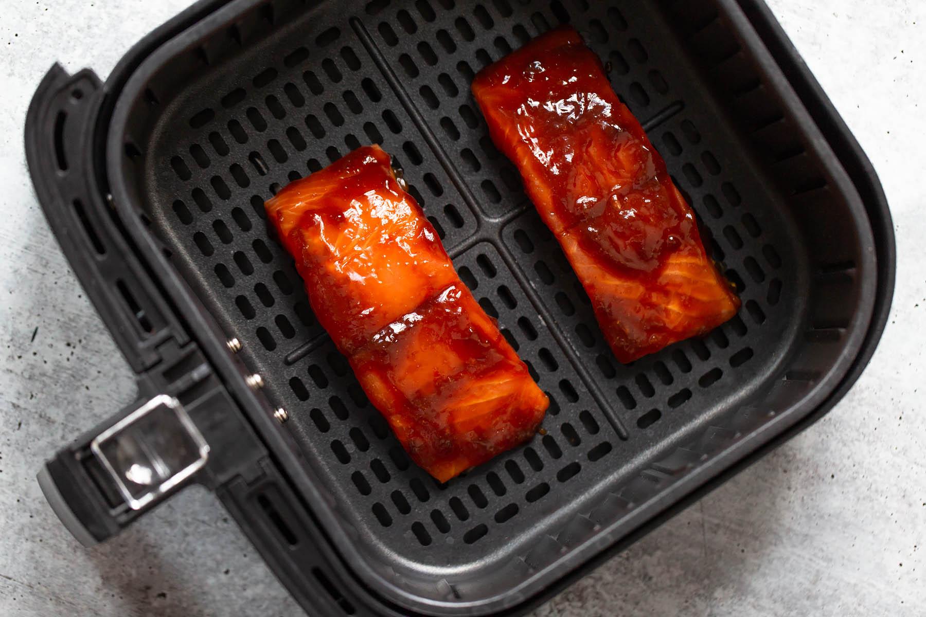 teriyaki salmon in the air fryer basket