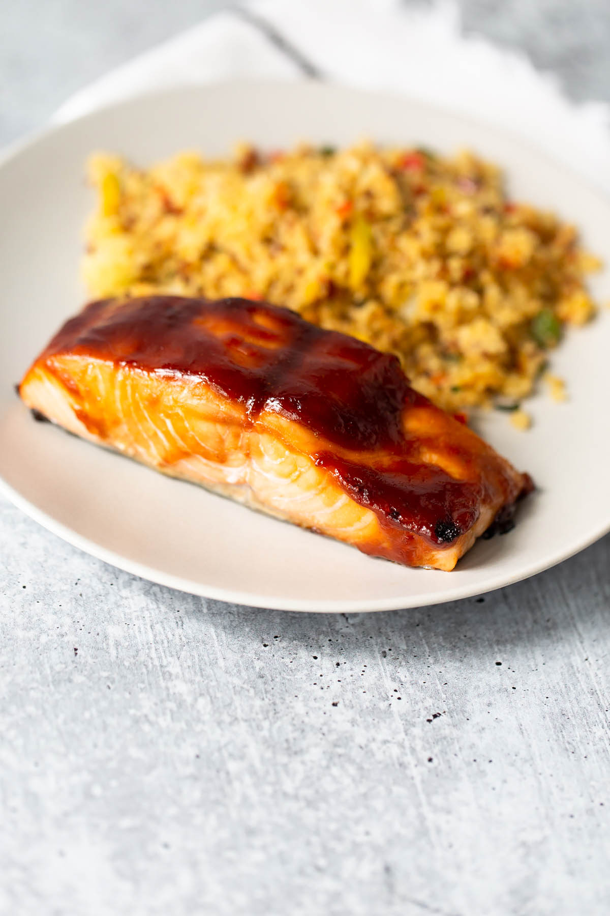 teriyaki salmon on a plate