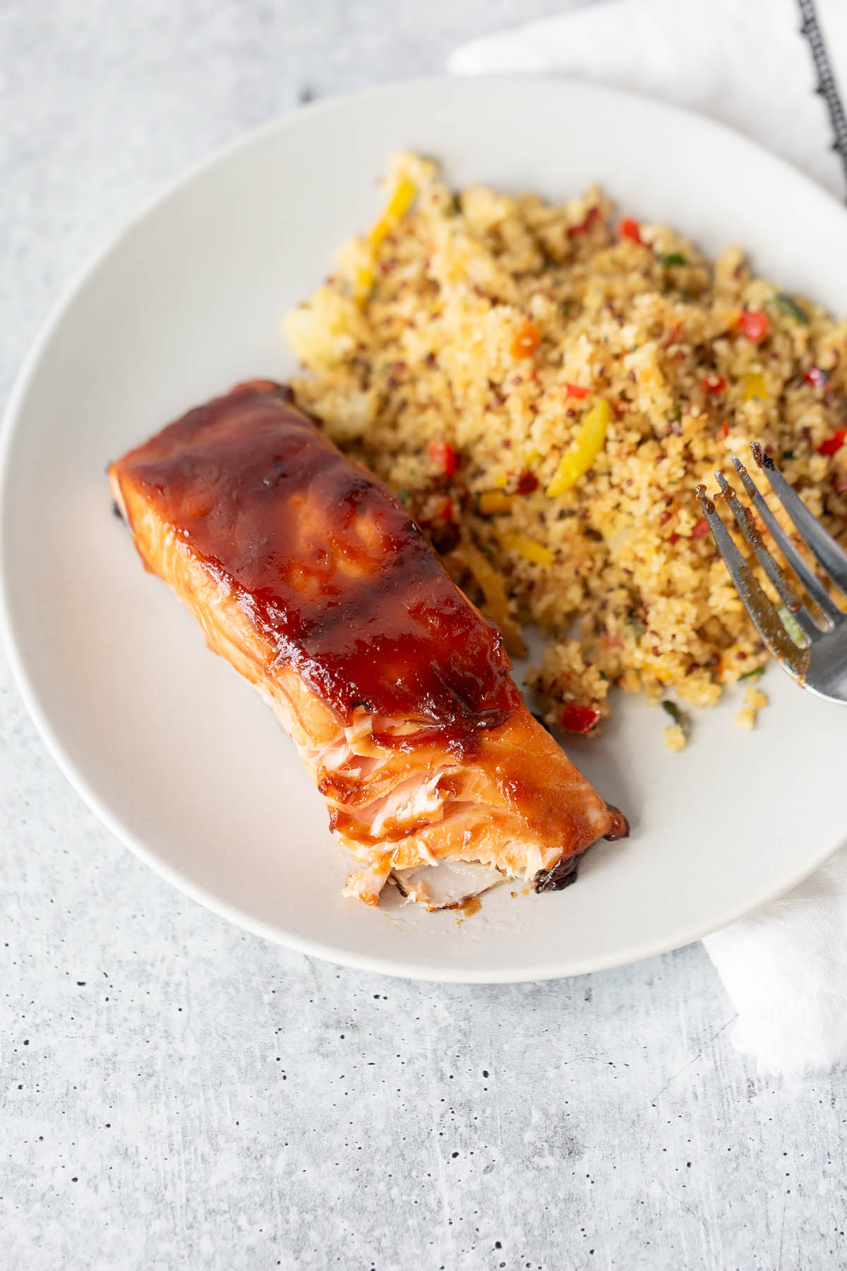 air fryer teriyaki salmon flaked