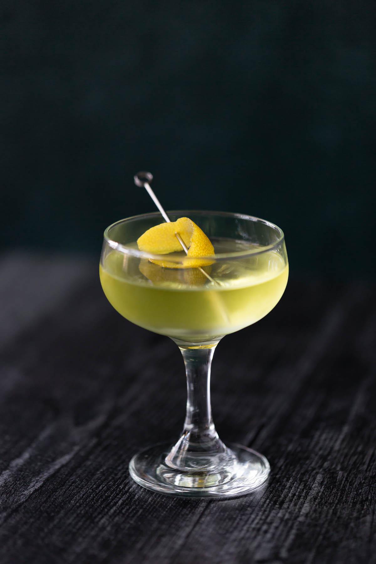 alaska cocktail with lemon zest