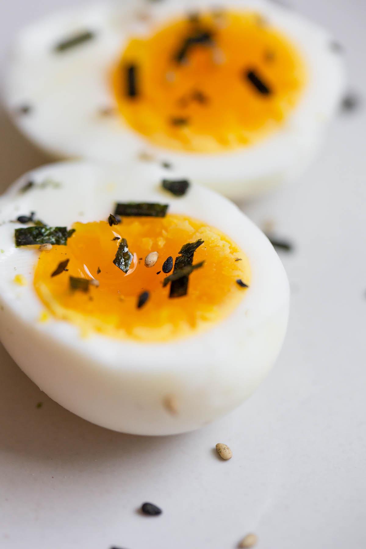 jammy eggs up close