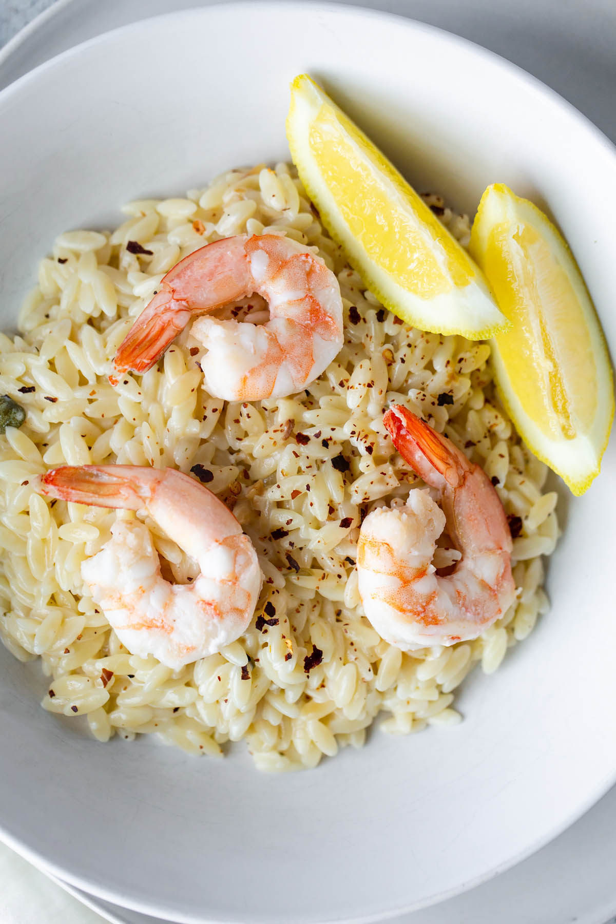 shrimp over orzo pasta