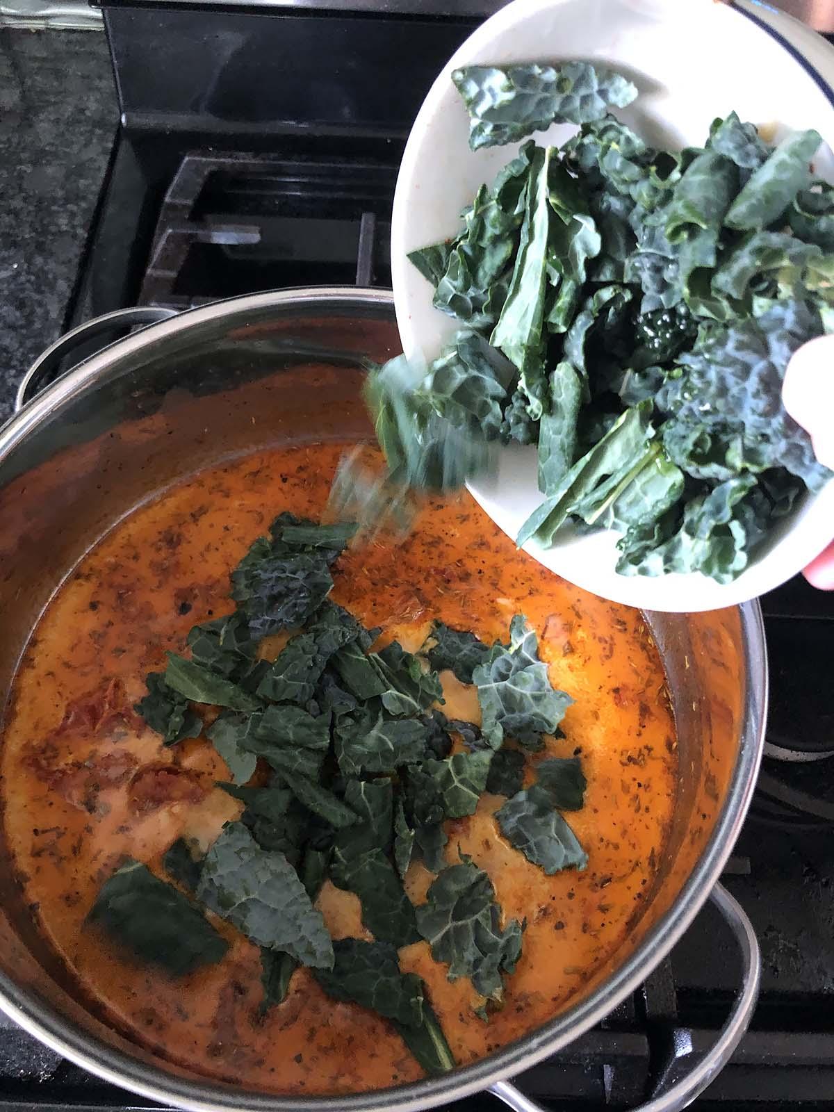 adding tuscan kale to soup