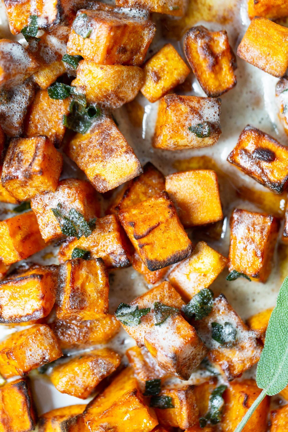air fryer sweet potatoes up close
