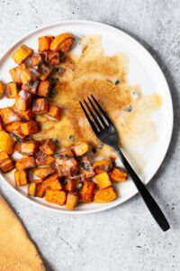 brown butter and sage air fryer sweet potatoes