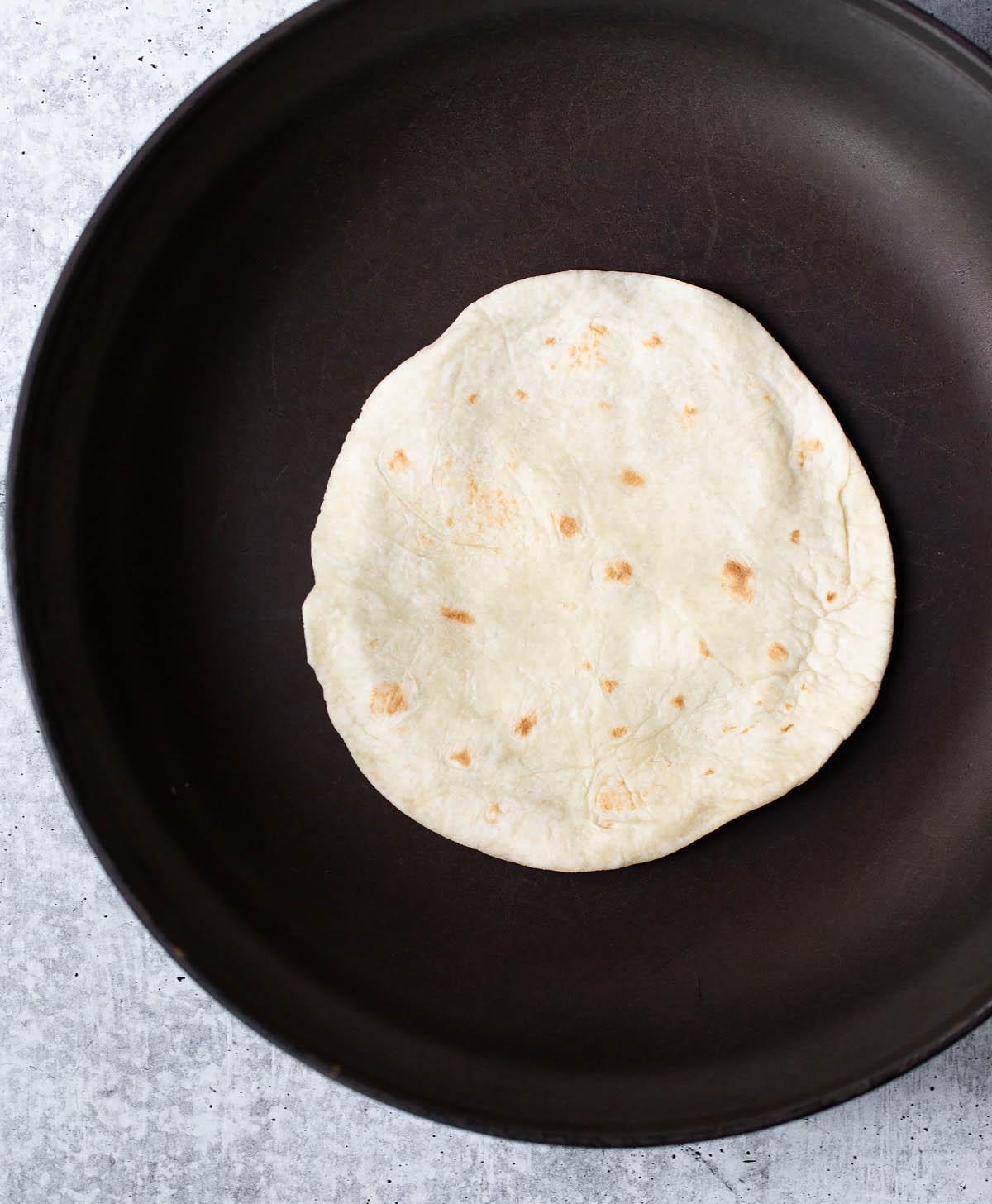 tortilla in a frying pan