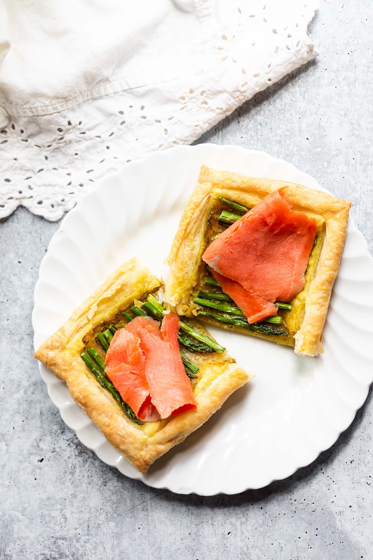 asparagus and smoked salmon tart made with puff pastry