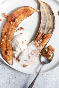 caramelized banana sliced in half from the top down
