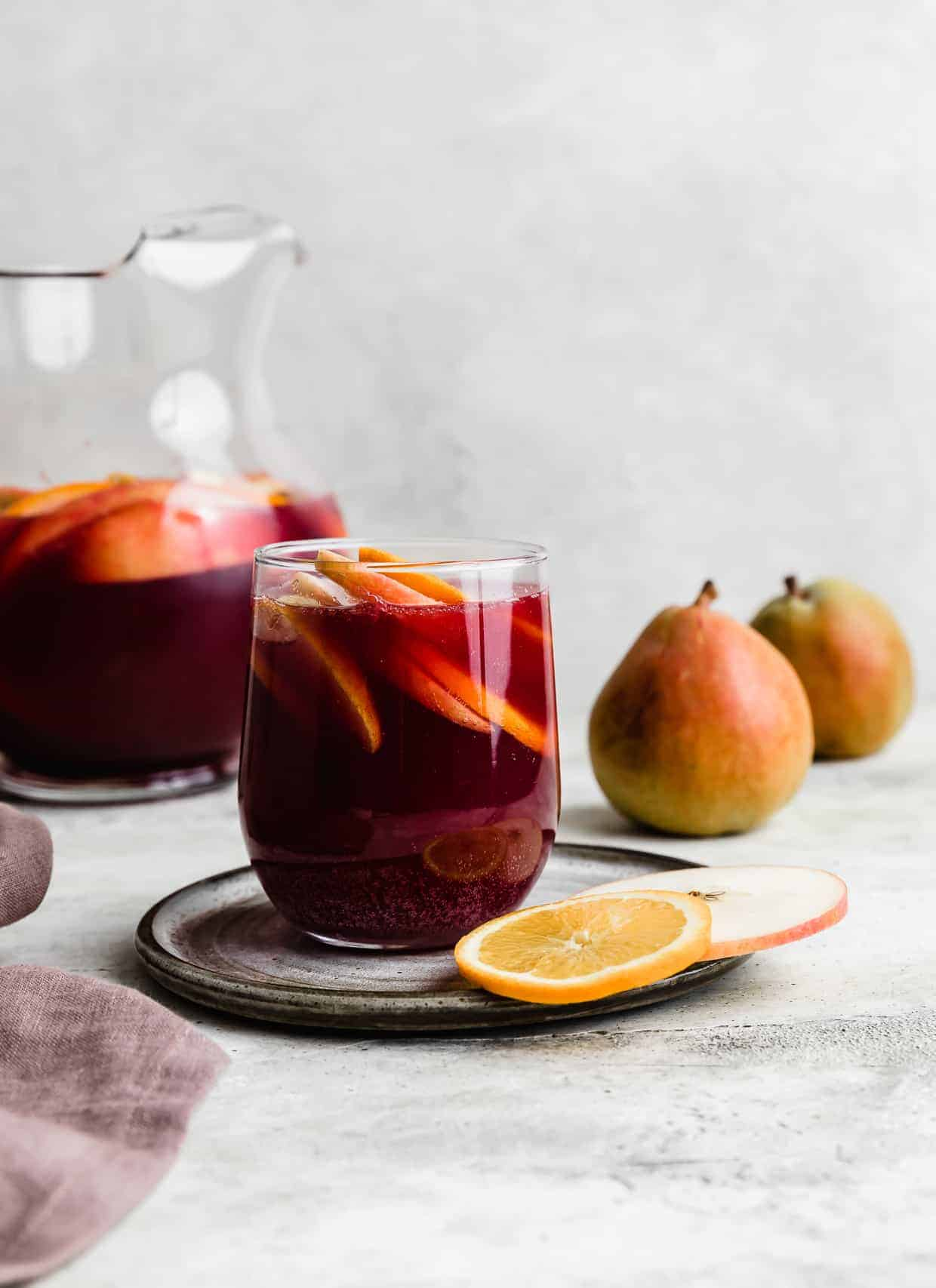 virgin sangria with orange and pear slices