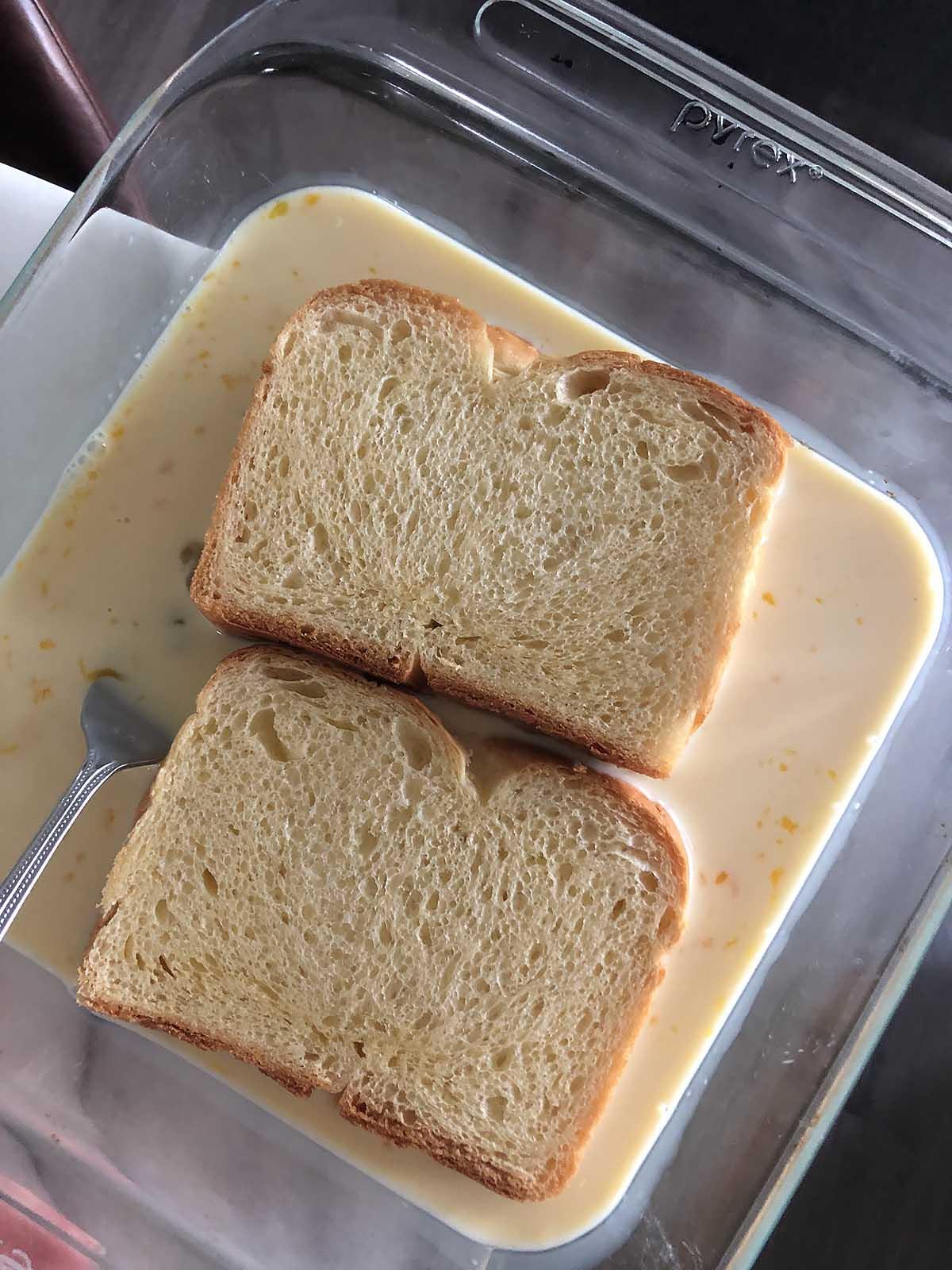 brioche bread in egg mixture