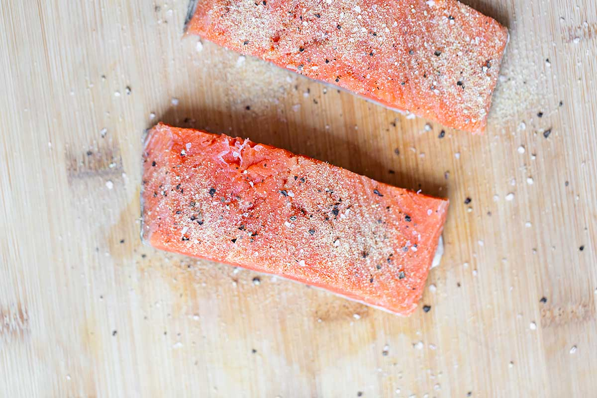 Pieces of seasoned salmon.
