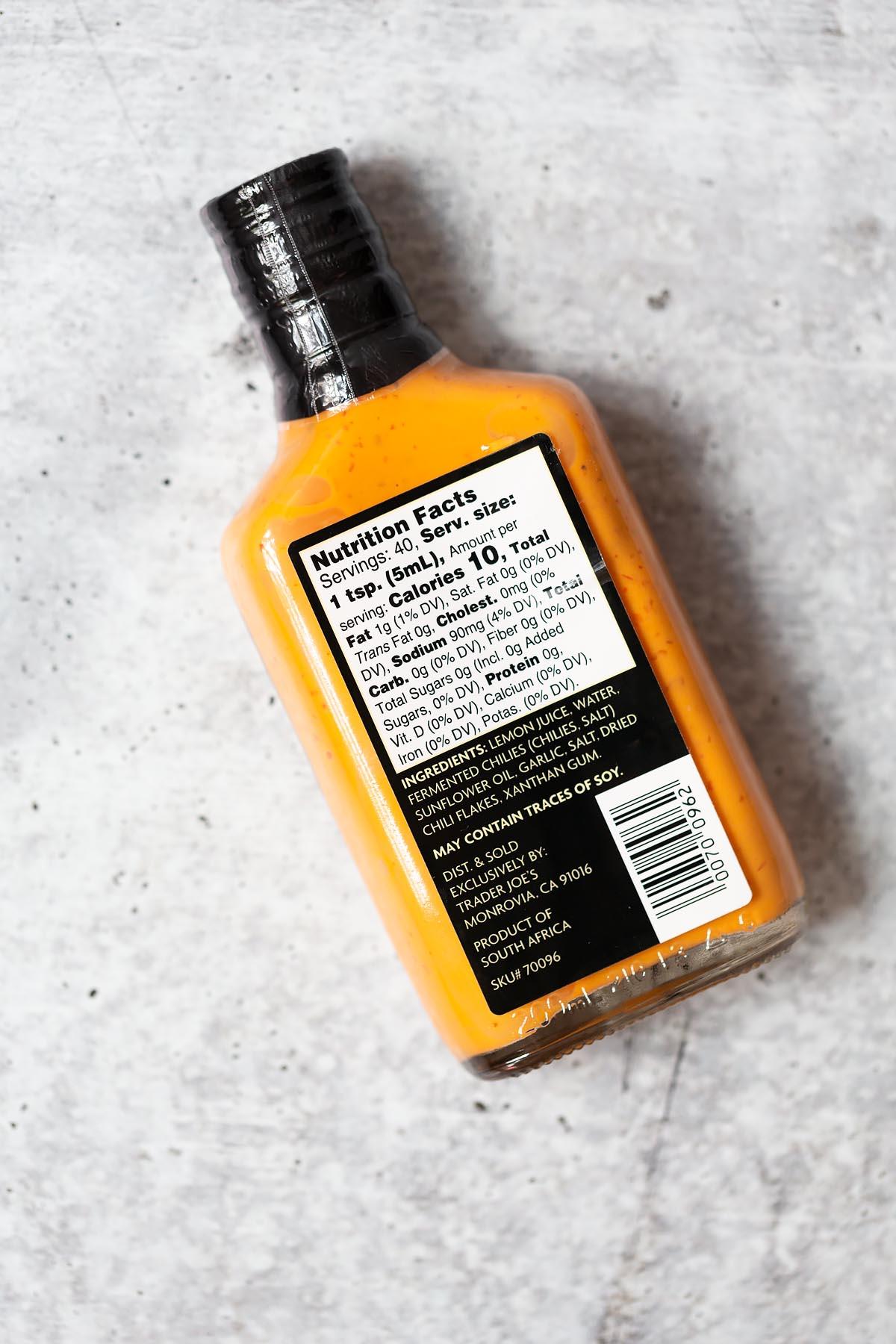 trader joes peri peri sauce ingredient label