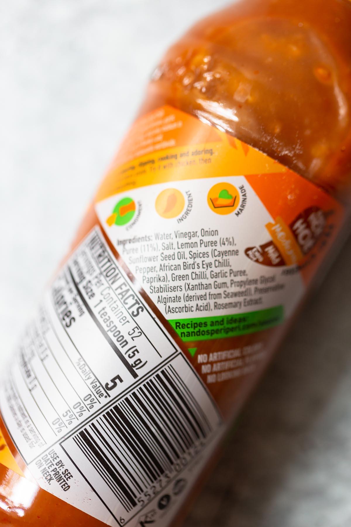 nandos peri peri sauce ingredient label