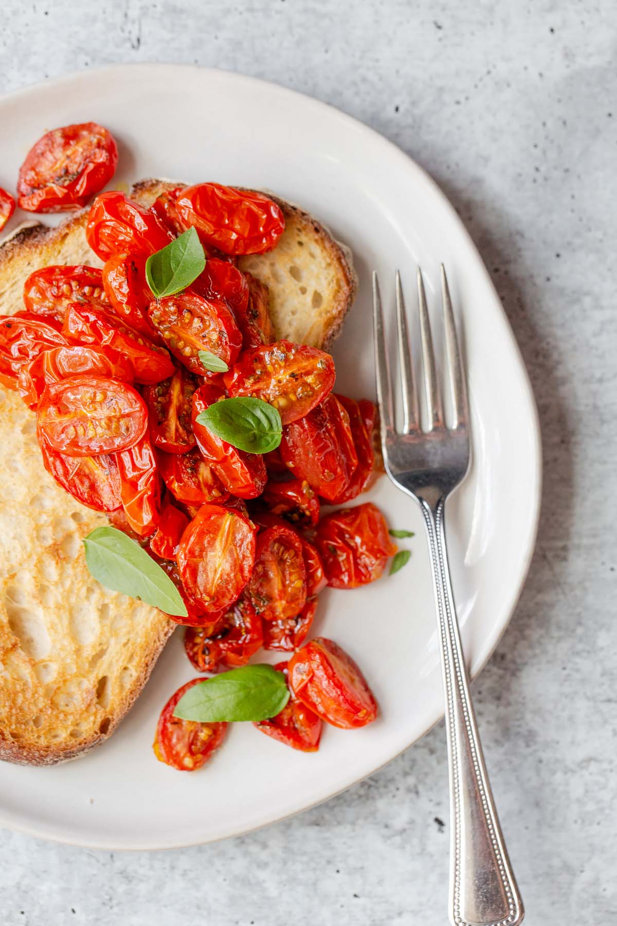 tomatoes and basil over toast