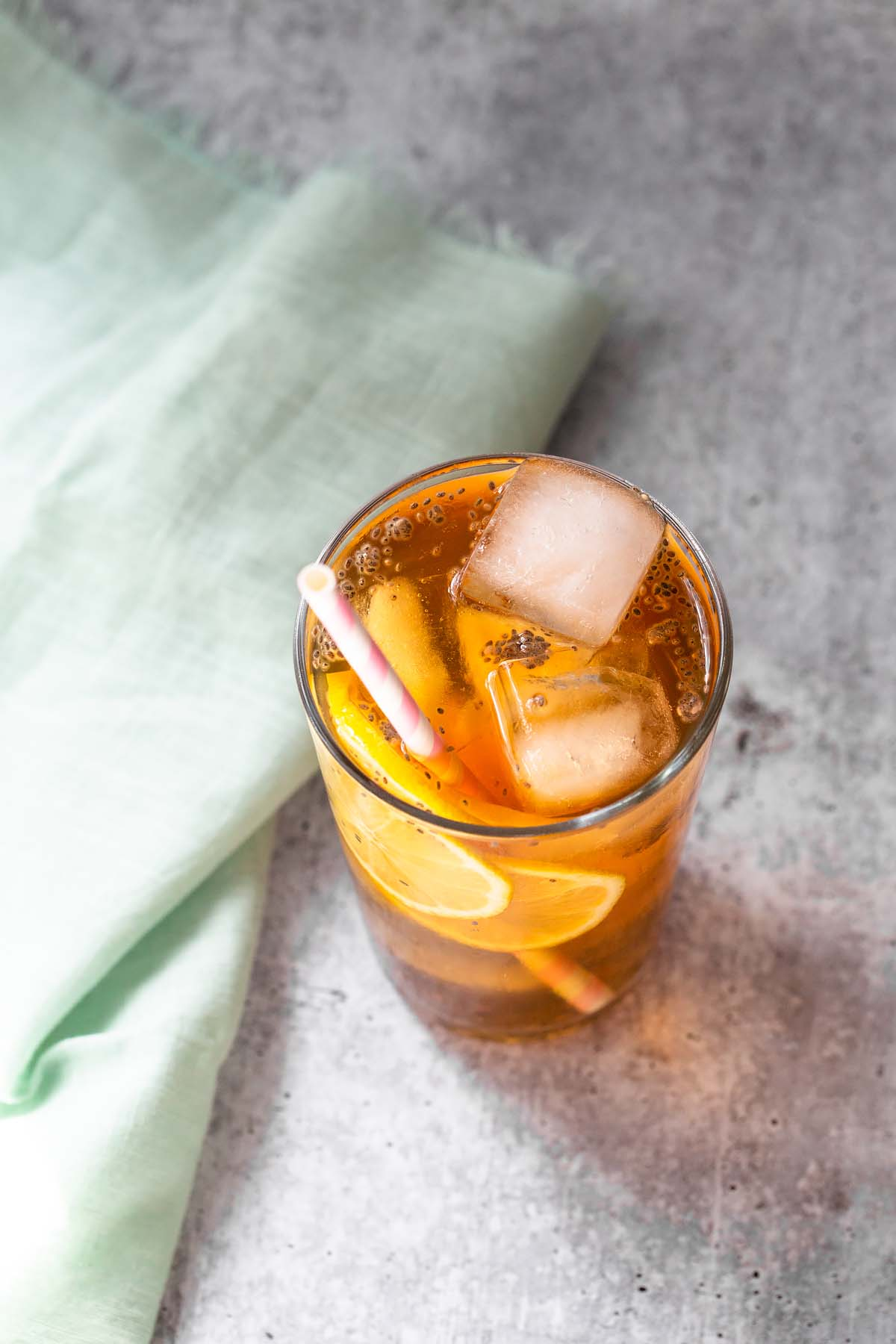 iced tea with chia seeds from above