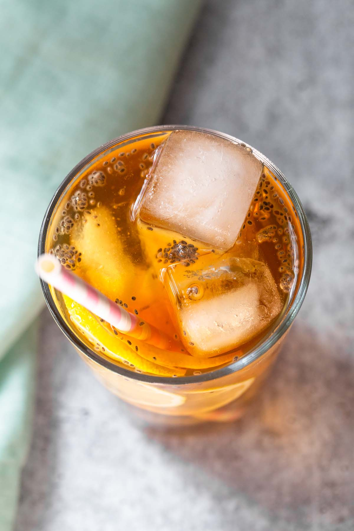 iced tea with chia seeds up close