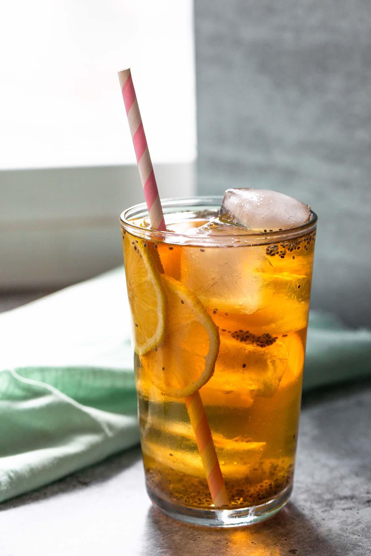 chia seed iced tea backlit