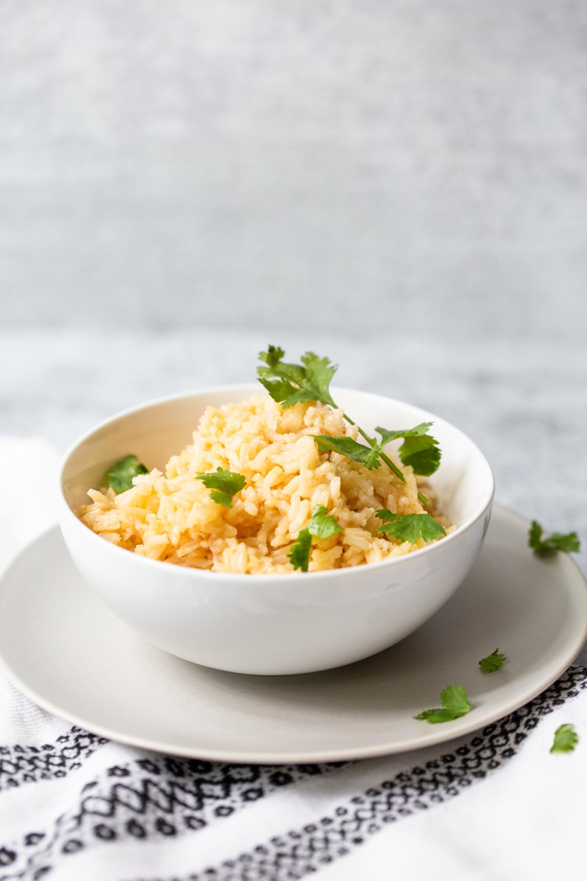 peri-peri rice topped with cilantro